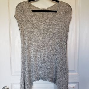 Acemi Soft Grey Drape Short Sleeve Top